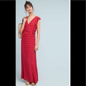 NWT-Anthropologie Flutter-Sleeve Maxi Dress Sz. L